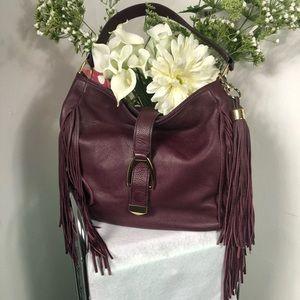 G.I.L.I Burgundy Leather Hobo Stirrup Bag A271123